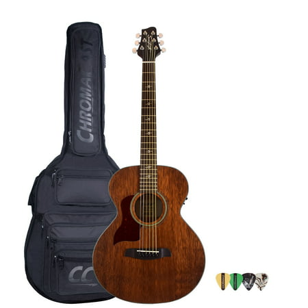 Sawtooth Mahogany Series Left-Handed Solid Mahogany Top Acoustic-Electric Mini Jumbo Guitar with Padded Gig Bag & Pick