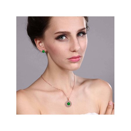 5.14 Ct Round Green Simulated Emerald 925 Rose Plated Silver Pendant Earrings Set - image 1 of 3