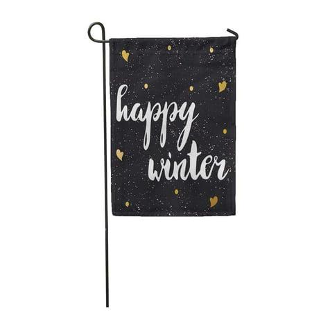 LADDKE Black Hand Lettering Phrase Happy Winter Decorating of Branch Garden Flag Decorative Flag House Banner 12x18 inch ()
