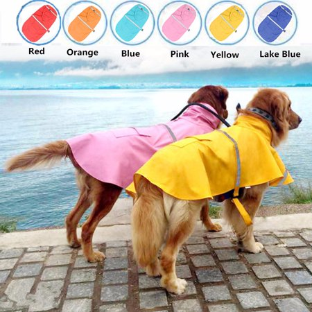 Waterproof Dog Raincoat Pet Clothes Hoodie Jacket Poncho Outdoor L Size with Reflective Strip For Dog](Poncho Dog)