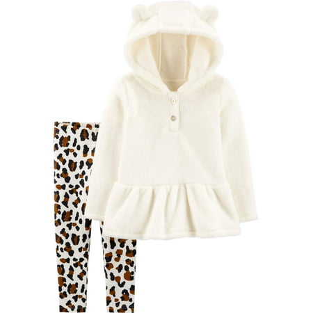 Child of Mine by Carter's Toddler Girl Sherpa Long Sleeve Hooded Top & Leggings, 2 pc Outfit set ()