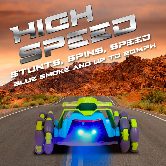 Realistic Sounds /& Lights One-Key Programming Blue Smoke Contixo 2.4GHz Remote Control Car with 360/° Rotating High Performance RC Car for Boys and Girls SC4 One-Key Demonstration