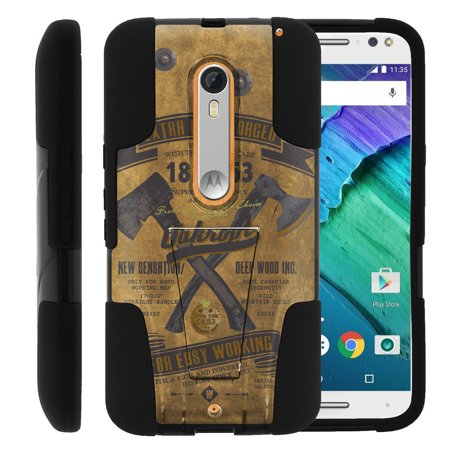 Motorola Moto X Style and Moto X Pure XT1575 STRIKE IMPACT Dual Layer Shock Absorbing Case with Built-In Kickstand - Vintage Axe