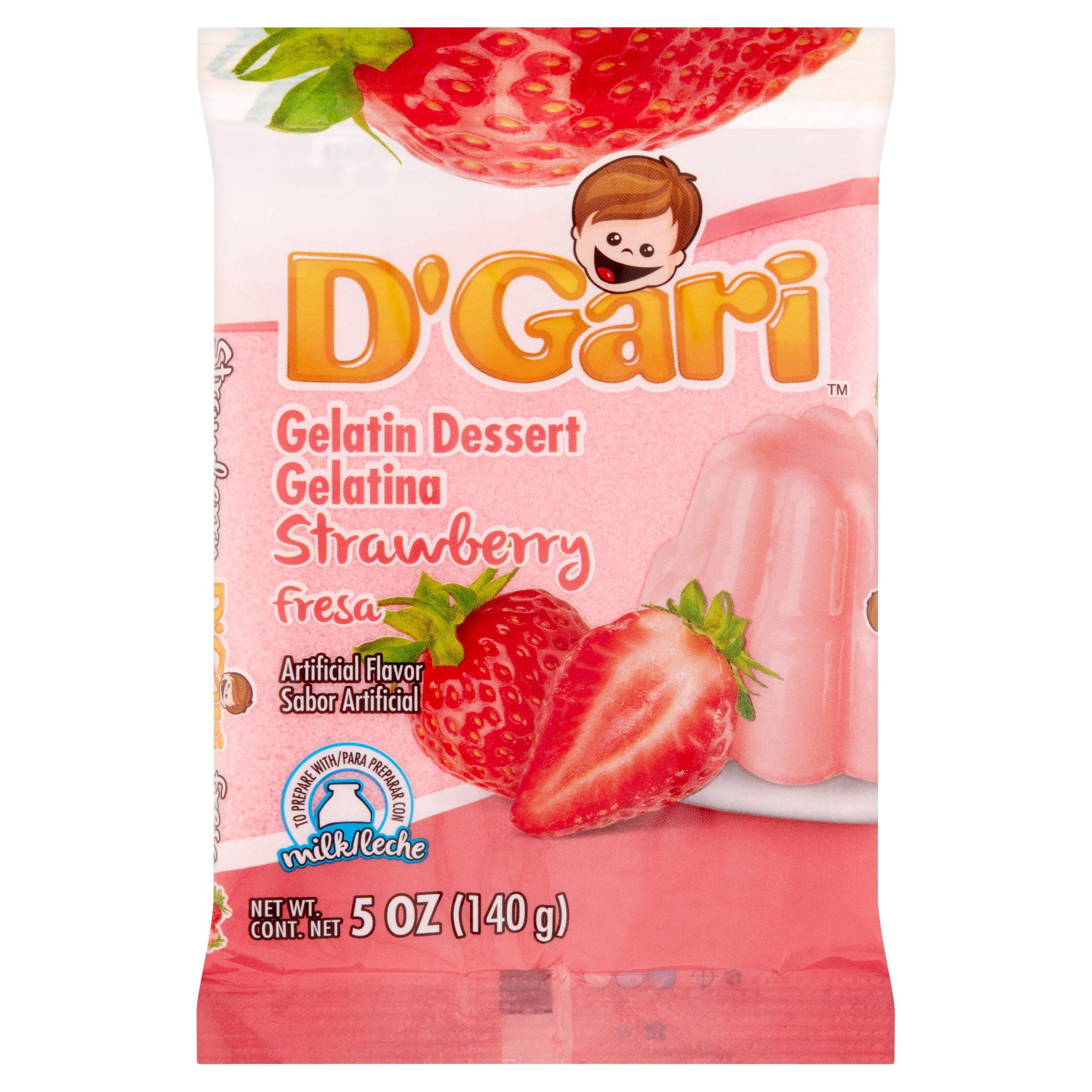 D'Gari Strawberry Gelatin Dessert, 5 oz by Productos Alimenticios Y Dieteticos Relámpago, S.A. de C.V.