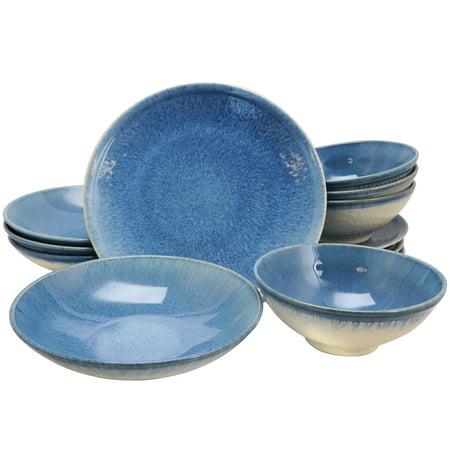 Gibson Elite 12 Piece Ombre Blue Double Bowl Dinnerware Set