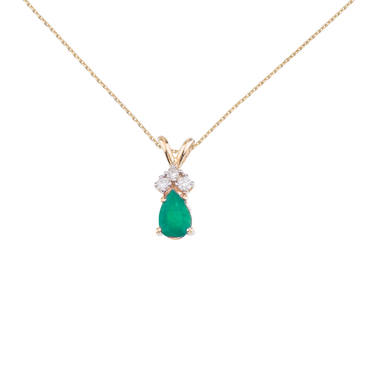 Direct 14K Yellow Gold Pear Shaped Emerald Pendant with D...