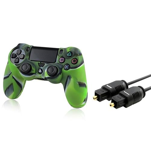 Insten Camouflage Navy Green Case + 3FT Toslink Digital Audio Optical Cable for PS4 Playstation 4
