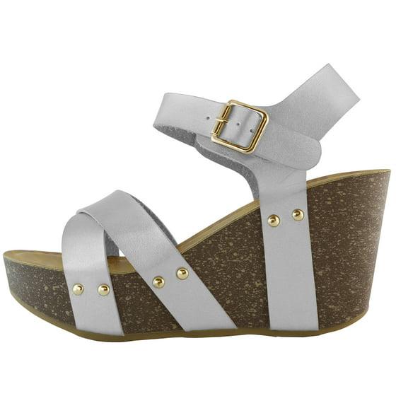 9f81b005fca4 DailyShoes - Women s Platform Wedge Sandals Slide On Comfort Thick ...