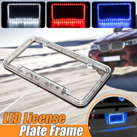 Universal 54 LED motorcycle accessorie Car License Plate Cover Frame Acrylic Plastic Light Holder Cover 12V (No (Motorcycle License Plate Frame With Led Lights)