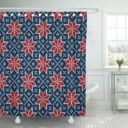 CYNLON Winter Holiday Knitted Pattern Snowflakes Blue Red and White Knitting Bathroom Decor Bath Shower Curtain 60x72 inch