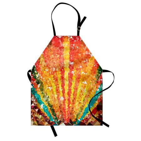 Diamond Apron Pop Art Diamond Sun Rays Beams Shady Stripes Nature Rainbow Design Groovy Graphic, Unisex Kitchen Bib Apron with Adjustable Neck for Cooking Baking Gardening, Orange Red, by (Shady Rays)