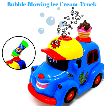 Bubble Blowing Ice Cream Truck Toy for kids toddlers Battery Operated Toy Ice Cream Truck Car w/ Lights & Sound Music-Comes with - Kids Light Toys