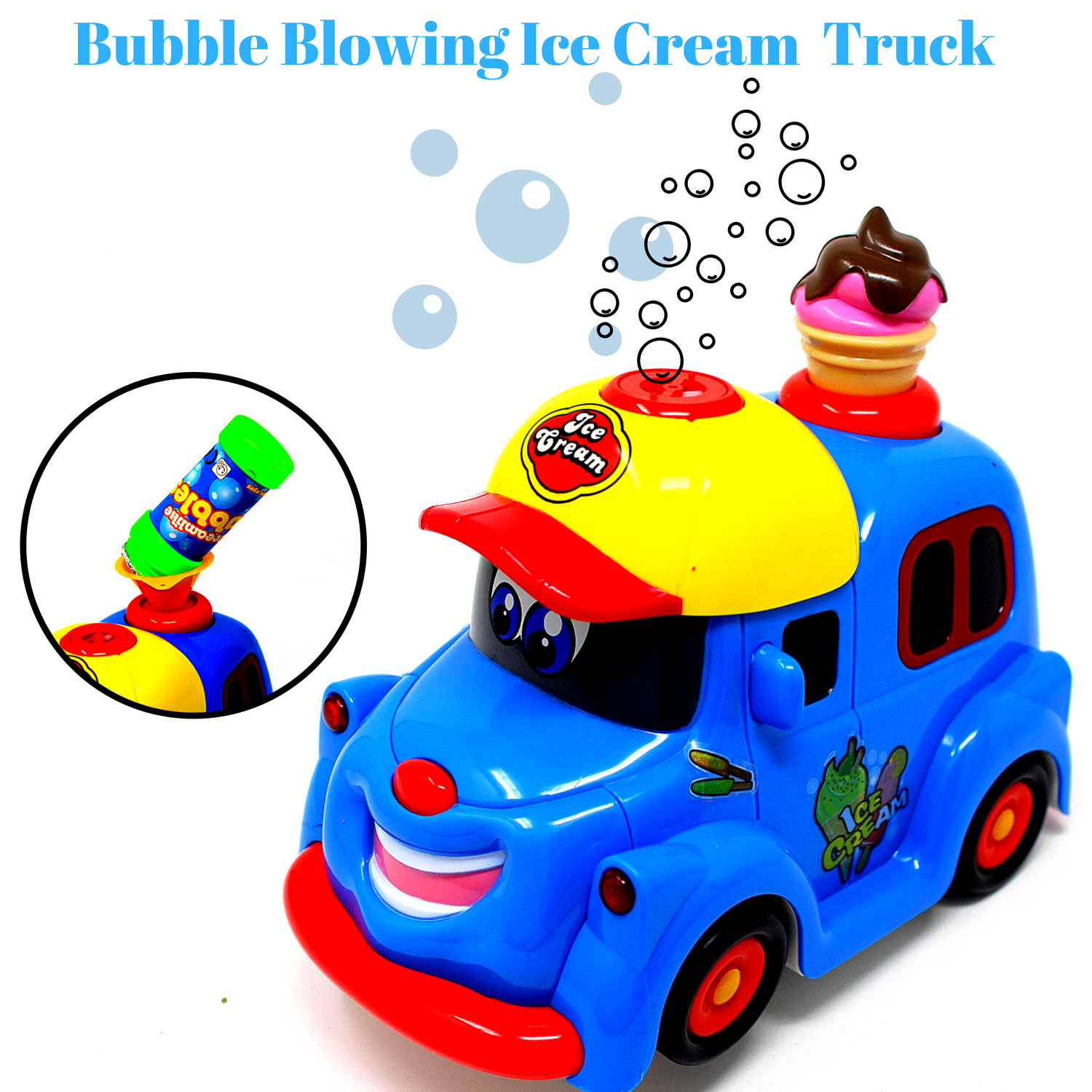Bubble Blowing Ice Cream Truck Toy for kids toddlers Battery Operated Toy Ice Cream Truck Car w/ Lights & Sound Music-Comes with Bubbles