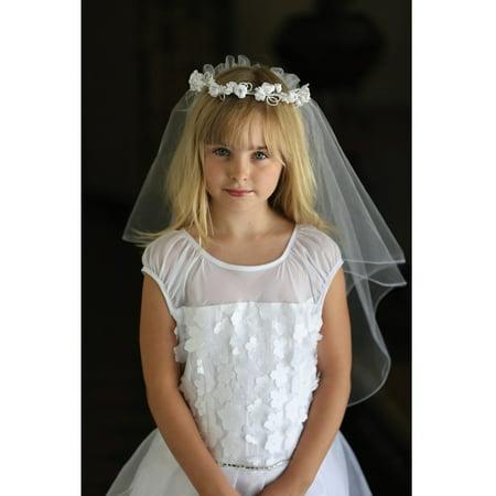 Genie Headpiece Veil (Angels Garment Girls White Beautiful Headpiece Communion Flower Girl)