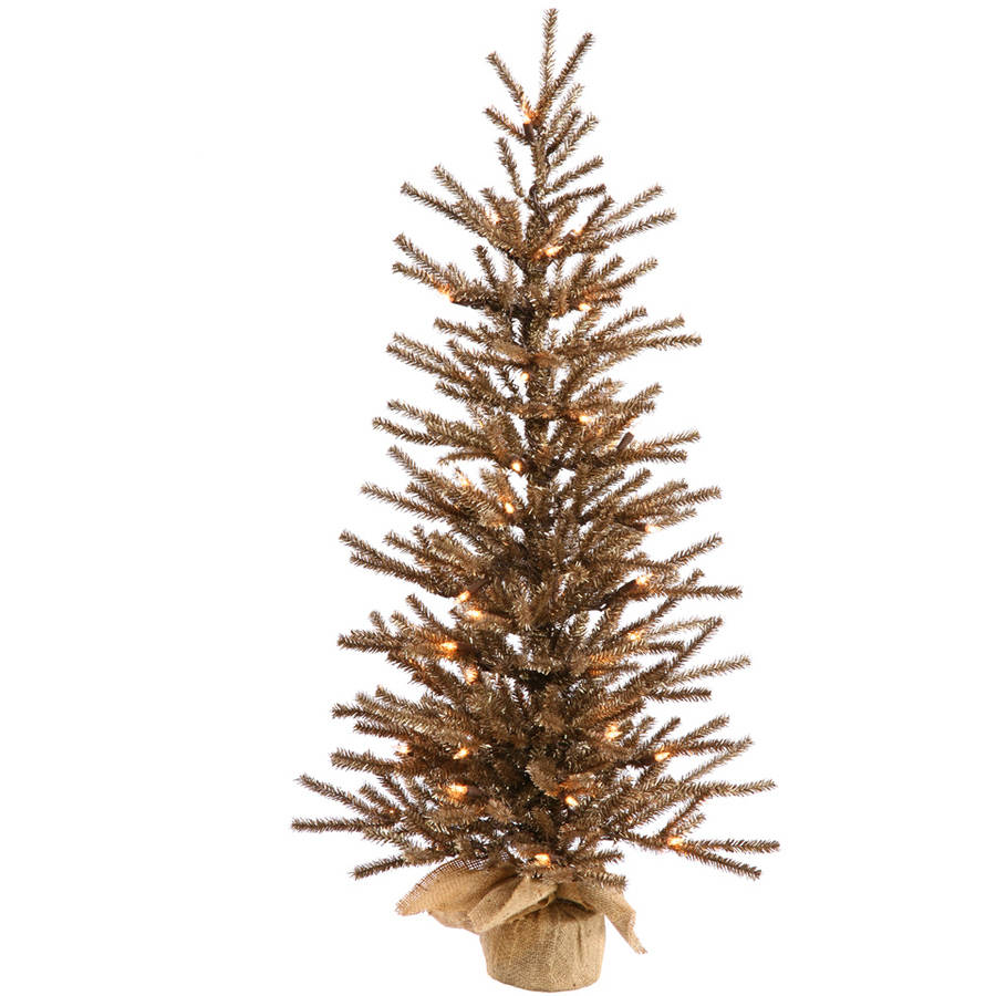 "Vickerman 48"" Chocolate Artificial Christmas Tree with 100 Warm White LED Lights"
