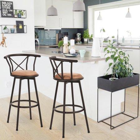 Furniture R Bar Stools Set of 2, Rotatable Back,Fabric Seat Metal Frame - image 5 of 8
