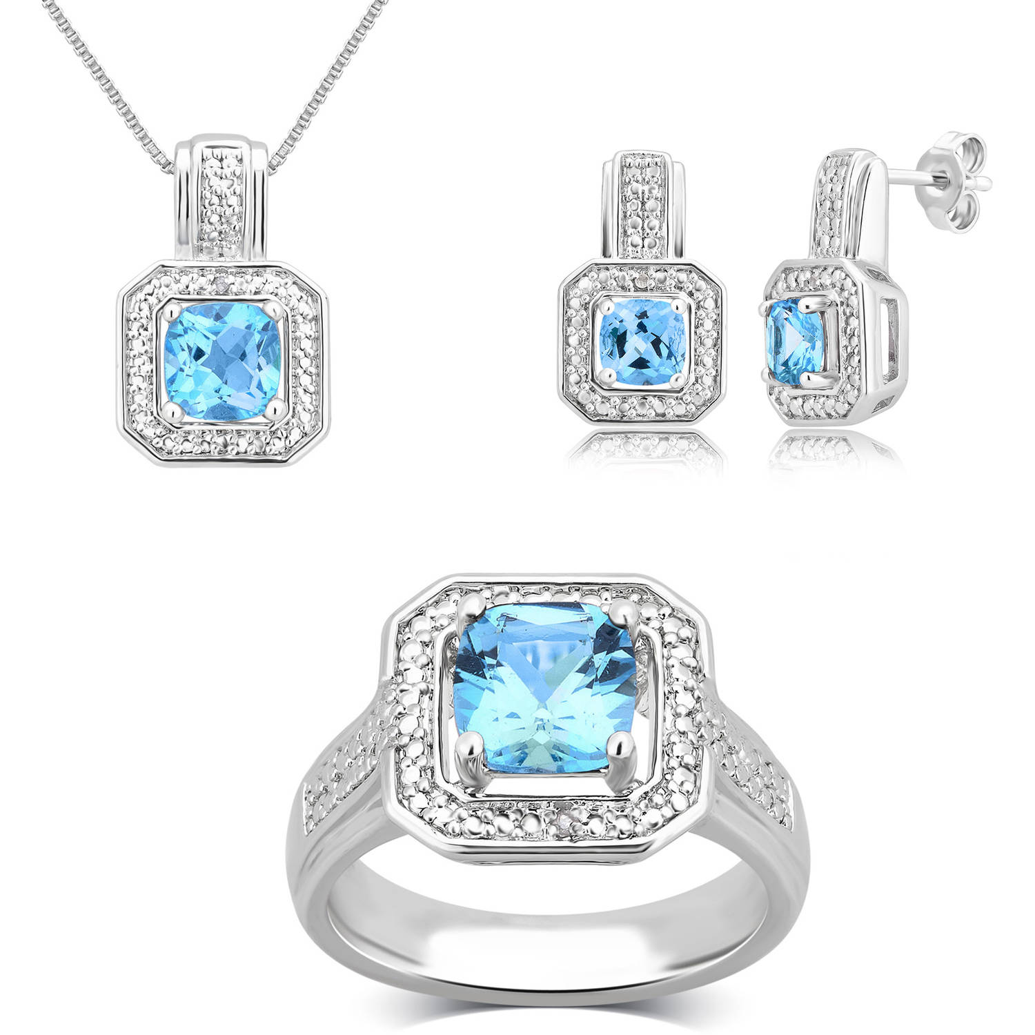 """Round White Diamond Accent and Blue Topaz Silver-Tone Ring, Earrings and Pendant Set, 18"""" by Unique Designs Inc."""