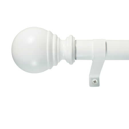 "Decopolitan 1"" Diameter Ball Telescoping Drapery Rod Set 36-72"" White"