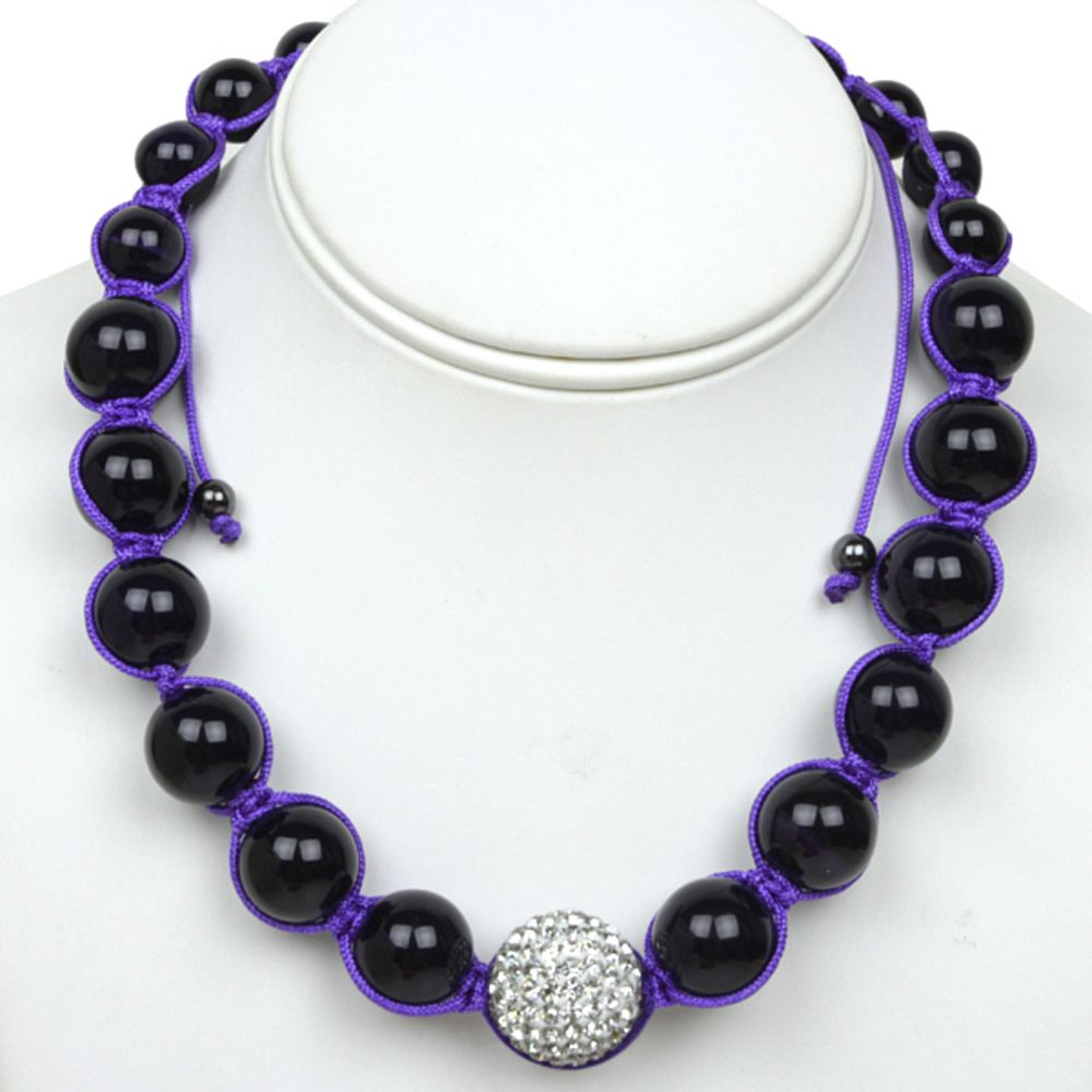 Black Crystal Ball & 20mm White Crave Ball On Blue Lace Adjustable Necklace