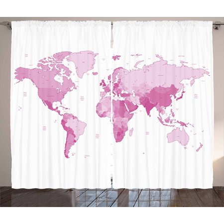 Pink curtains 2 panels set cute world map continents island land light pink curtains 2 panels set cute world map continents island land pacific atlas europe america africa gumiabroncs Images
