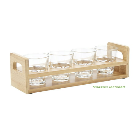 Mind Reader 4 Slot Shot Glass Holder, Flight Tray, Shot Glass Holder Display with Glasses, Kitchenware, Barware, (Glass Kitchenware)
