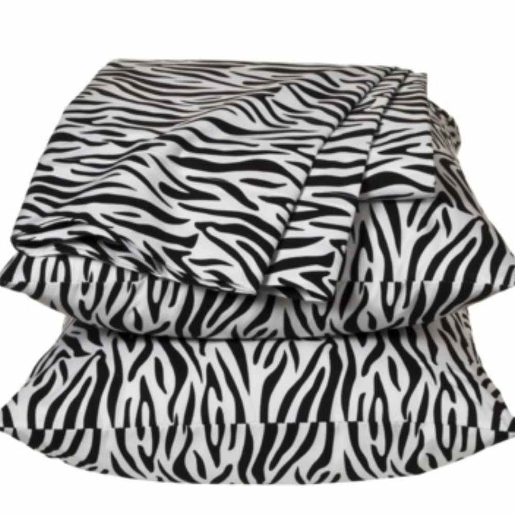 Queen Size Sheets Black & White Zebra Stripes Sheet Set