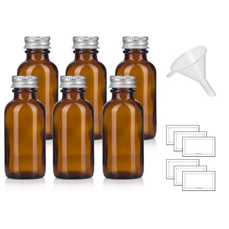 1 oz Amber Glass Boston Round Bottles with Silver Metal Screw On Caps + Funnel and Labels (6)