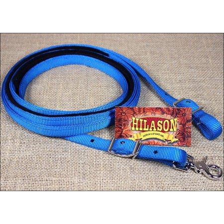 5/8in x 8ft HILASON BLUE NYLON HORSE SPILT CONTEST REIN NICKEL PLATED HARDWARE
