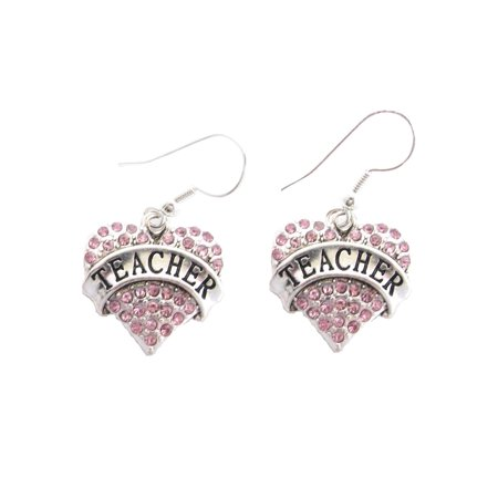 Teacher Heart Crystal Charm On Silver Plated French Hook Earrings