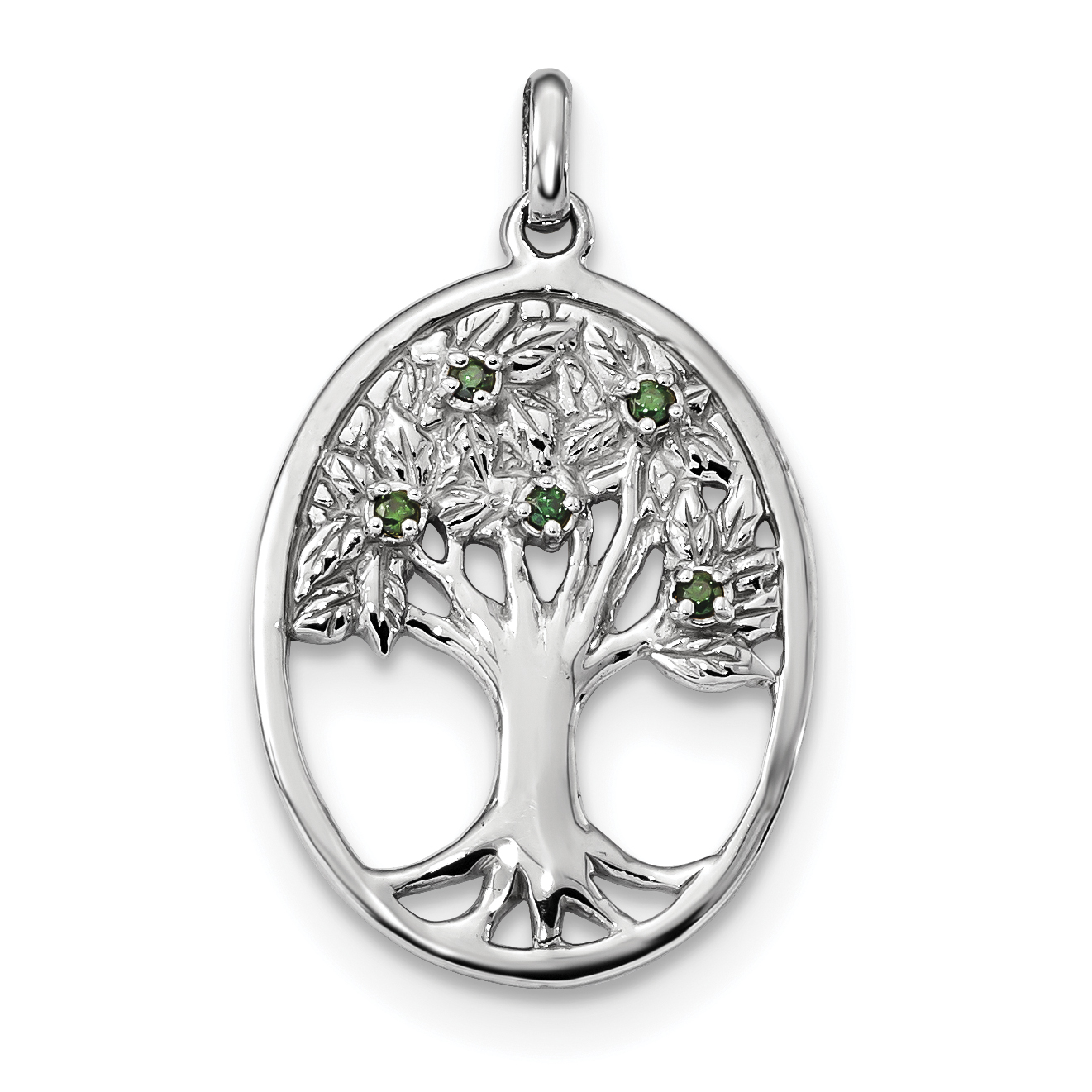 925 Sterling Silver Green Glass Buds Oval Tree Pendant Charm Necklace Outdoor Nature