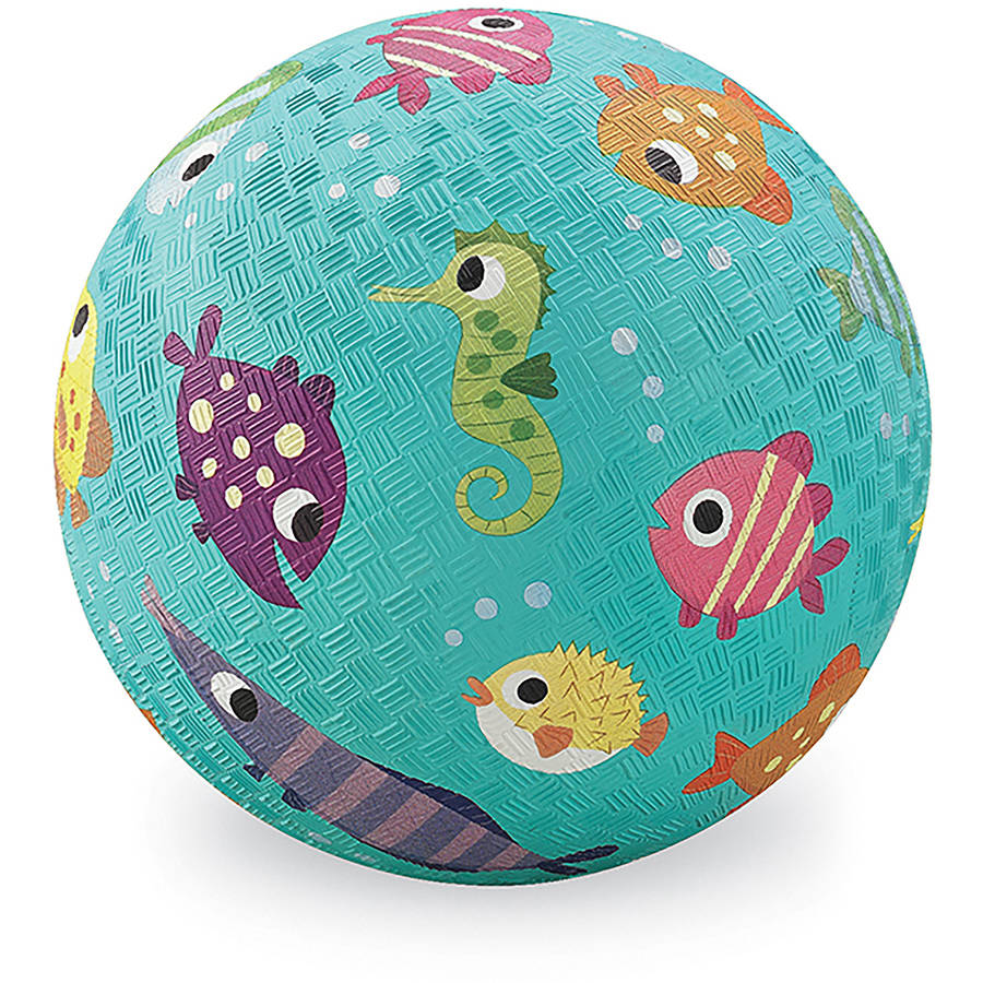 "Crocodile Creek Fish Playground Ball, 7"", Turquoise"