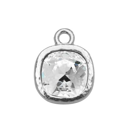- TierraCast Pewter Frame Pendant, with 10mm Swarovski Crystal Cushion, 1 Piece, Bright Rhodium Plated