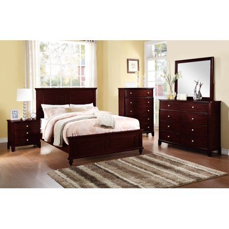 Country Living Bedroom Furniture Classic Dark Brown Color 4pc Set  California King Size Bed Dresser Mirror Nightstand