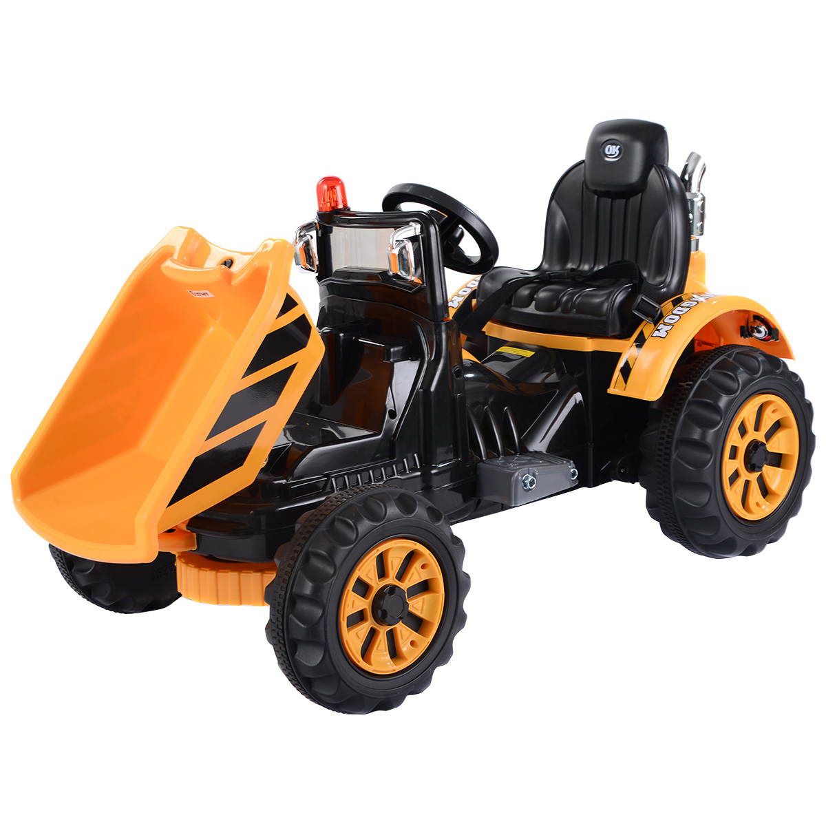 Costway 12V Battery Powered Kids Ride On Tipper Dumper Truck With Dump Bucket Yellow