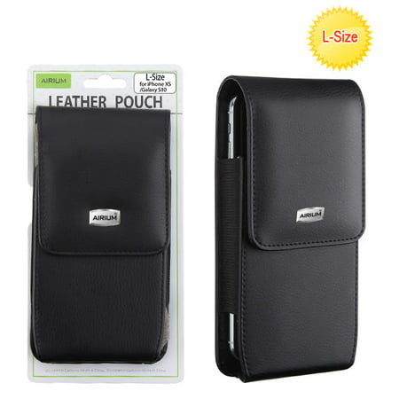 Universal CellPhone Pouch Holster Vertical Leather Belt Clip Pouch Hybrid Carrying Case For Large Size Phone with Magnetic Closure Cover [Belt Loop Holster] 5.94 X 3.41 X 0.51 inch - BLACK Leather Universal Phone Cover