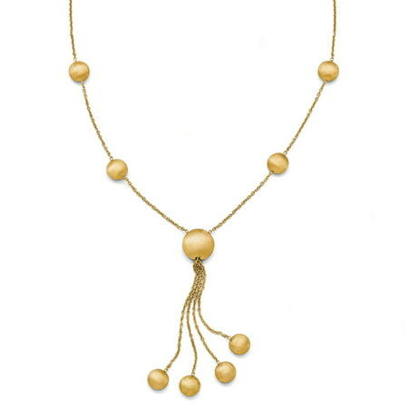 bf52c3cfebb97 14k Yellow Gold Brushed Beaded Y-Drop Necklace, 17 Inch