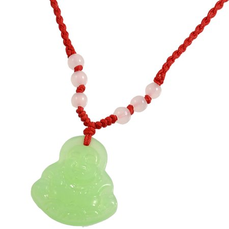 Yin Jade Pendant - Green Faux Jade Buddha Pendant Adjustable String Rope Necklace
