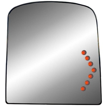 40249 - Fit System Passenger Side Heated Mirror Glass w/ back plate, Chevy Avalanche 03-13, Silverado, GMC Sierra 03-18, Suburban, Yukon, Tahoe 03-14, Sierra 03-14 (tow Mirror top lens, Arrow signal)
