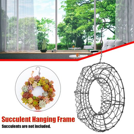Heart /Ring Shape Succulent Hanging Frame Succulent Plant Holder Wreath Frame Metal Planter Holder Iron Wire Circle Hanging Flower Pot Home Garden Patio