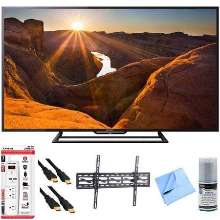 Sony KDL-48R510C – 48-Inch Full HD 1080p 60Hz Smart LED TV Tilt Mount Hook-Up Bundle – Includes TV, Tilting TV Wall Mount, 3 Outlet Surge Protector with USB Ports, 2 x High-Speed HDMI Cable with Ethe