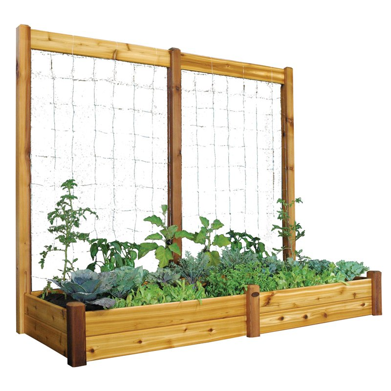 Gronomics 34L x 95W x 13H in. Raised Garden Bed with Trellis Kit - Unfinished