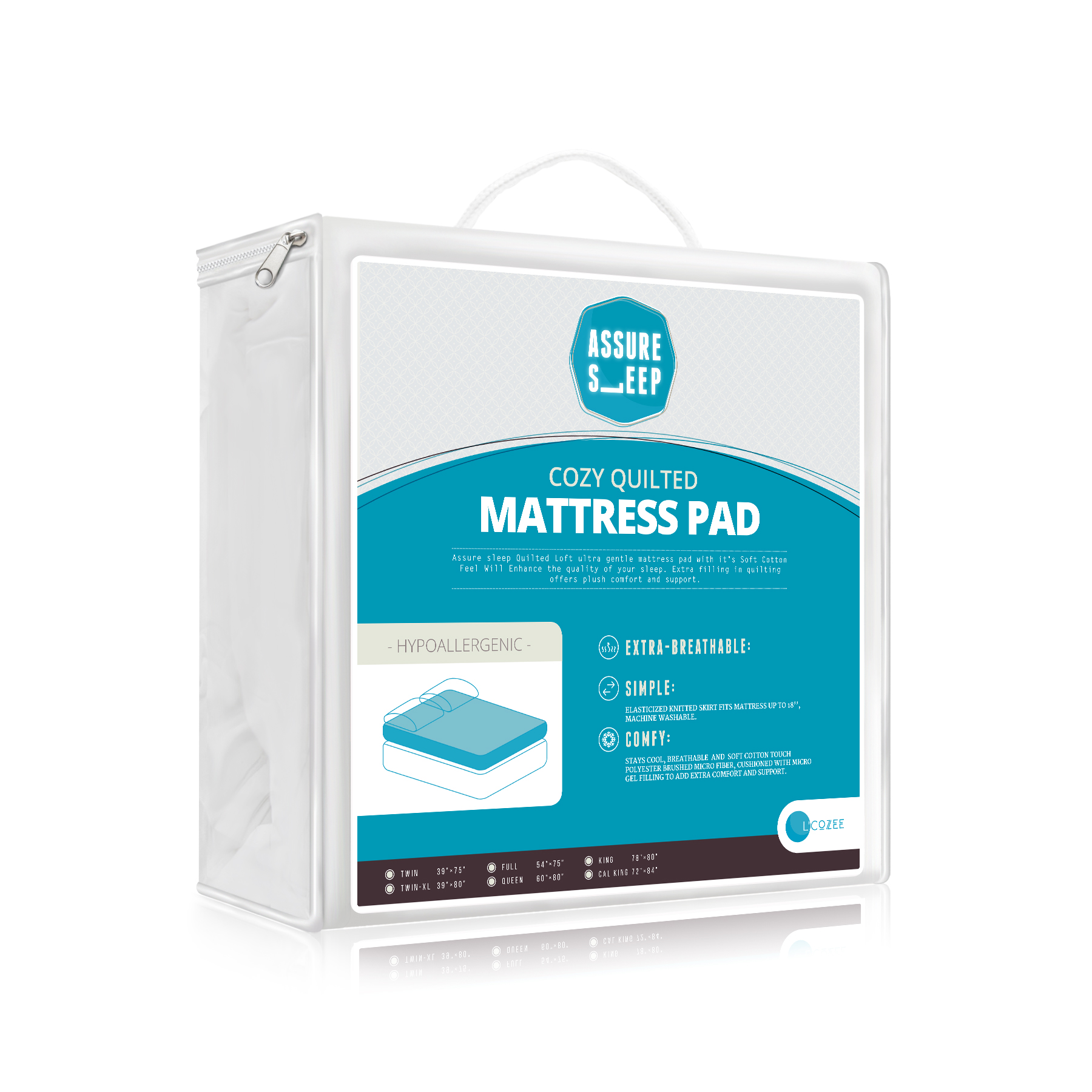 Assure Sleep Quilted Waterproof Mattress Pad Cover King