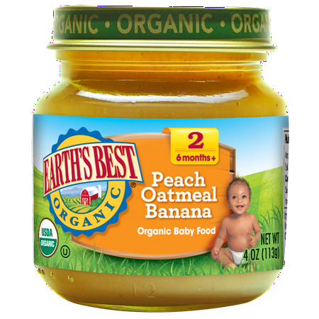 (5 Pack) Earth's Best Organic Baby Food Stage 2, Peach Oatmeal Banana, 4 Ounce (Pack of