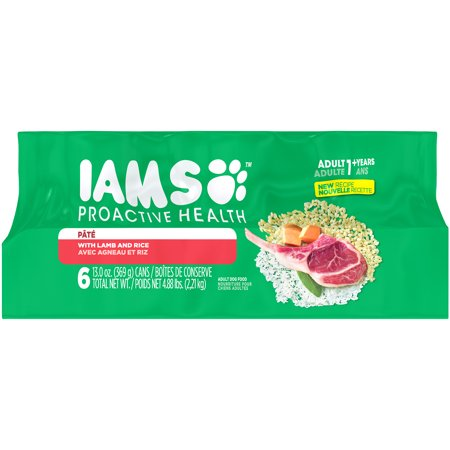 (3 Pack) IAMS PROACTIVE HEALTH Adult Multipack With Lamb and Rice Pate Wet Dog Food 13.0 Ounces (Pack of 6)
