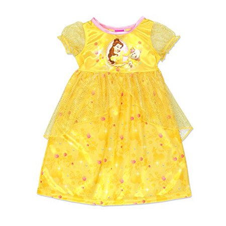 Disney Princess Belle Girls Fantasy Gown Nightgown (4T, - Princess Nightgowns For Toddlers