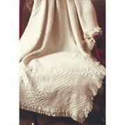 Manual Woodworkers & Weavers Textured Blocks Natural 2 Layer Cotton Throw