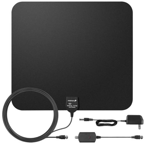 Fosmon Indoor Ultra Thin HDTV Antenna 60 Miles Range with 16.4ft Coaxial Cable Built-in Amplifier Signal Booster - Black
