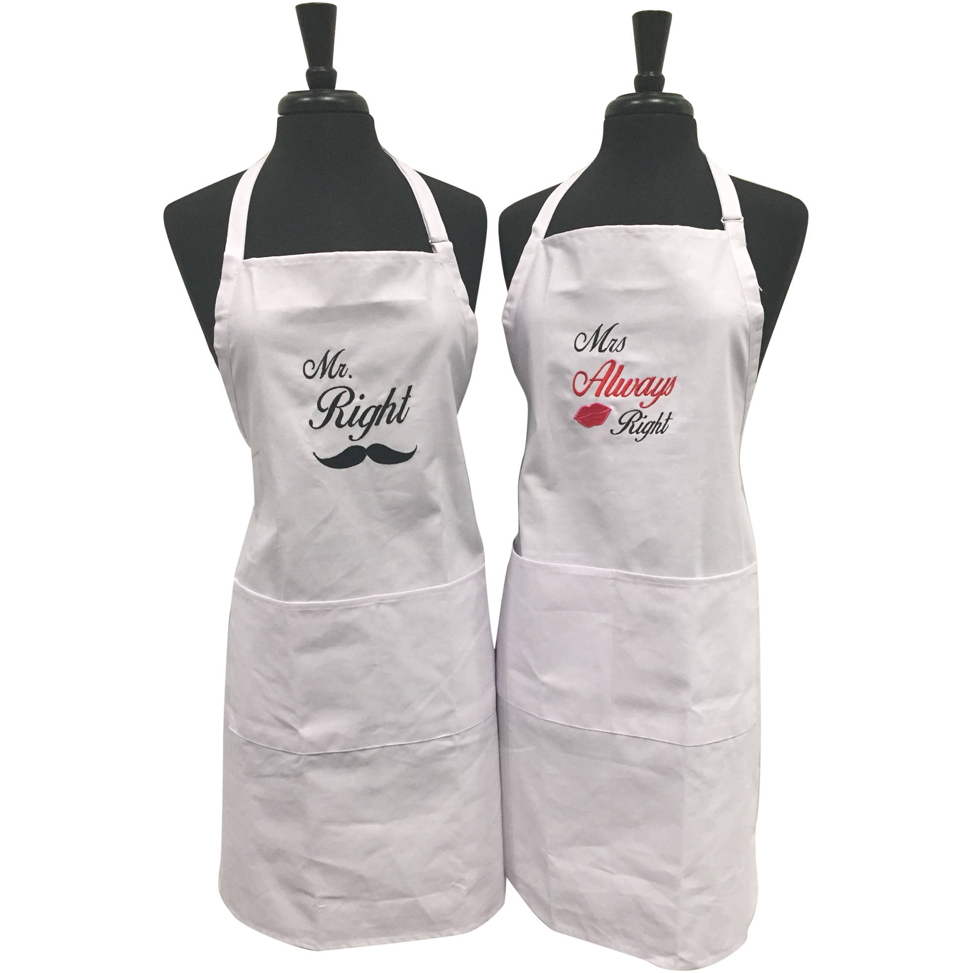 Mr. Right and Mrs. Always Right Embroidered Apron Set