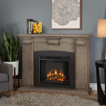 Adelaide Indoor Electric Fireplace Dry Bush White