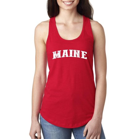 Maine State Flag Women Tops Next Level Racerback Tank Top - Red Togas
